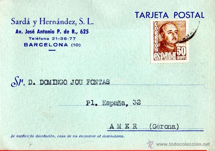 . TARJETA POSTAL SARDA Y HERNANDEZ BARCELONA (Sellos - España - Tarjetas)