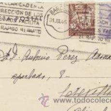 Sellos: TARJETA POSTAL DE BARCELONA A CREVILLENTE DEL 32 JUL. 1945. CON EDIFIL 922, BARCELONA-. Lote 43766441