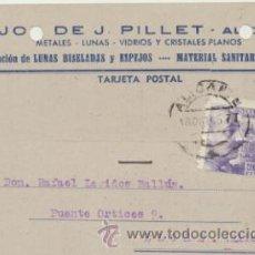 Sellos: TARJETA CON MEMBRETE DE ALICANTE A ELCHE DEL 18 OCTU. 1945. CON EDIFIL 922.. Lote 43780632