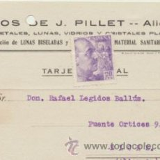 Sellos: TARJETA CON MEMBRETE DE ALICANTE A ELCHE DEL 22 OCTUBRE . 1942. CON EDIFIL 922.. Lote 43780816