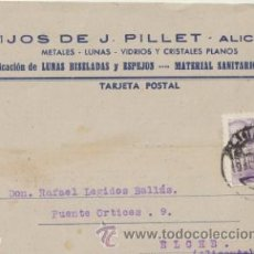 Sellos: TARJETA CON MEMBRETE DE ALICANTE A ELCHE DEL 19 AGOSTO 1944. CON EDIFIL 922.. Lote 43780874