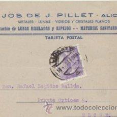 Sellos: TARJETA CON MEMBRETE DE ALICANTE A ELCHE DEL 16 AGOSTO 1944. CON EDIFIL 922.. Lote 43780905