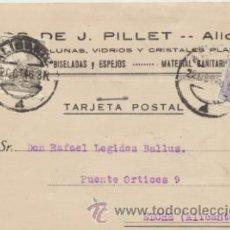 Sellos: TARJETA CON MEMBRETE DE ALICANTE A ELCHE DEL 22 OCTUBRE . 1946. CON EDIFIL 922.. Lote 43780934