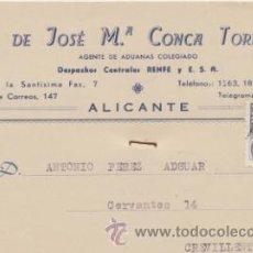 Sellos: TARJETA CON MEMBRETE DE ALICANTE A CREVILLENTE DEL 8 NOV. 1945. CON EDIFIL 922.. Lote 43783234