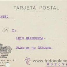 Sellos: TARJETA CON MEMBRETE DE MADRID A MONOVAR DEL 16 - 4- 1926. CON EDIFIL 315.. Lote 43792847