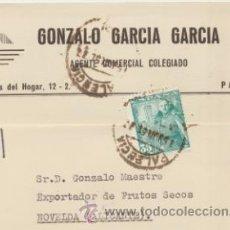 Sellos: TARJETA CON MEMBRETE DE PALENCIA A NOVELDA DEL 14 JUNIO 1951. CON EDIFIL 1026.. Lote 43794449