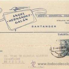 Sellos: TARJETA CON MEMBRETE DE SANTANDER A NOVELDA DEL 13 AGOS. 1958. CON EDIFIL 924.. Lote 43794626