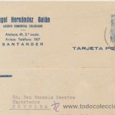 Sellos: TARJETA CON MEMBRETE DE SANTANDER A NOVELDA DEL 23-10-1953. CON EDIFIL 1050.. Lote 43794738