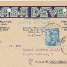 Sellos: TARJETA CON MEMBRETE DE ALICANTE A ELCHE DEL 20 DICI. 1950. CON EDIFIL 924.. Lote 43802303