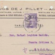 Sellos: TARJETA CON MEMBRETE DE ALICANTE A ELCHE DEL 27 ABRIL 1942.. CON EDIFIL 922.. Lote 43802412