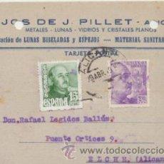 Sellos: TARJETA CON MEMBRETE DE ALICANTE A CREVILLENTE DEL 29 ABRIL 1949..EDIFIL 922 Y 1021.. Lote 43802658