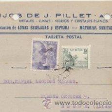 Sellos: TARJETA CON MEMBRETE DE ALICANTE A ELCHE DEL 3 DICI. 1947. CON EDIFIL 918 Y 922... Lote 43802767