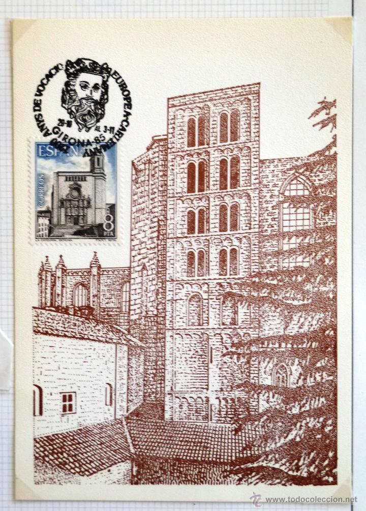 TARJETA CATEDRAL DE GERONA. TORRE CARLOMAGNO. MATASELLOS GIRONA 1985. (Sellos - España - Tarjetas)