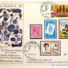 Sellos: TARJETA ILUSTRADA EXPO JUVENTUD 76. I EXPOSICION FILATELICA JUVENIL. MADRID 1976. Lote 44170904