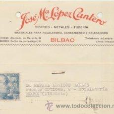 Sellos: TARJETA CON MEMBRETE DE BILBAO A ELCHE DEL 10 SEPT. 1953. CON EDIFIL 1049.. Lote 44738013
