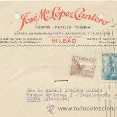 Sellos: TARJETA CON MEMBRETE DE BILBAO A ELCHE DEL 3 OCT.. 1953. CON EDIFIL 1044 Y 1050.. Lote 44738053