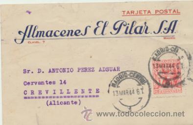 TARJETA CON MEMBRETE DE MADRID A CREVILLENTE DEL 13 MAR. 1944. CON EDIFIL 964 Y MO- (Sellos - Extranjero - Tarjetas)