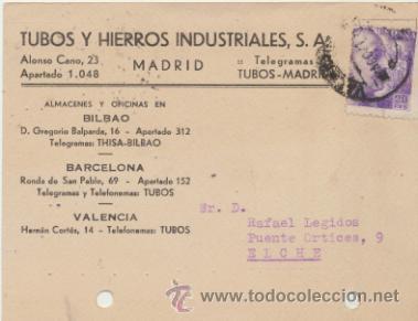 TARJETA CON MEMBRETE DE VALENCIA A ELCHE DEL 7 AGOS. 1941. CON EDIFIL 922. (Sellos - Extranjero - Tarjetas)