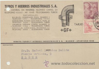 TARJETA CON MEMBRETE DE VALENCIA A ELCHE DEL 24 MARZ. 1947. CON EDIFIL 917 Y 923. (Sellos - Extranjero - Tarjetas)