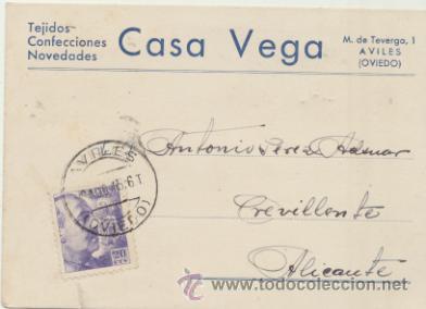 TARJETA CON MEMBRETE DE AVILÉS A CREVILLENTE DEL 19 AGOS. 1945. CON EDIFIL 922. (Sellos - Extranjero - Tarjetas)