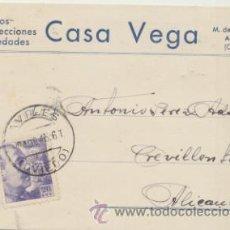 Sellos: TARJETA CON MEMBRETE DE AVILÉS A CREVILLENTE DEL 19 AGOS. 1945. CON EDIFIL 922.. Lote 44796457