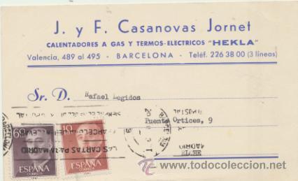 CARTA CON MEMBRETE DE BARCELONA A ELCHE DEL ?. CON EDIFIL 1143 Y 1150. (Sellos - Extranjero - Tarjetas)