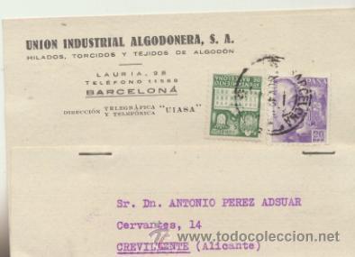 TARJETA CON MEMBRETE DE BARCELONA A CREVILLENTE DEL 26 NOV. 1942. CON EDIFIL 922 Y 5- (Sellos - Extranjero - Tarjetas)