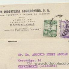 Timbres: TARJETA CON MEMBRETE DE BARCELONA A CREVILLENTE DEL 26 NOV. 1942. CON EDIFIL 922 Y 5-. Lote 44796707