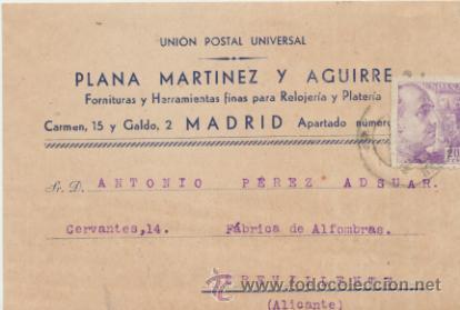 TARJETA CON MEMBRETE DE MADRID A CREVILLENTE DEL 2 JUL. 1943.CON EDIFIL 922 Y AL DORSO (Sellos - Extranjero - Tarjetas)