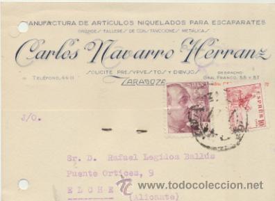TARJETA CON MEMBRETE DE ZARAGOZA A ELCHE DEL 27 FEB. 1947. CON EDIFIL 917 Y 923. (Sellos - Extranjero - Tarjetas)