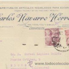 Sellos: TARJETA CON MEMBRETE DE ZARAGOZA A ELCHE DEL 27 FEB. 1947. CON EDIFIL 917 Y 923. . Lote 44796853