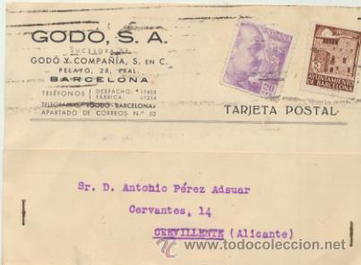 TARJETA CON MEMBRETE DE BARCELONA A CREVILLENTE DEL 13 JULIO 1943.CON EDIFIL 922,5 CTS (Sellos - Extranjero - Tarjetas)