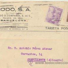 Sellos: TARJETA CON MEMBRETE DE BARCELONA A CREVILLENTE DEL 13 JULIO 1943.CON EDIFIL 922,5 CTS. Lote 44796986