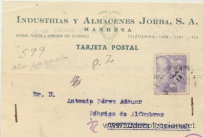 TARJETA CON MEMBRETE DE MANRESA A CREVILLENTE DEL 8 AGOS. 1945. CON EDIFIL 922. (Sellos - Extranjero - Tarjetas)