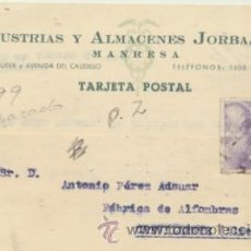 Sellos: TARJETA CON MEMBRETE DE MANRESA A CREVILLENTE DEL 8 AGOS. 1945. CON EDIFIL 922.. Lote 44797023