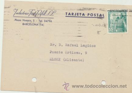 TARJETA CON MEMBRETE DE BARCELONA A ELCHE DEL 7 JUN. 1950. CON EDIFIL 1026. (Sellos - Extranjero - Tarjetas)
