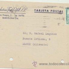 Sellos: TARJETA CON MEMBRETE DE BARCELONA A ELCHE DEL 7 JUN. 1950. CON EDIFIL 1026.. Lote 44797133