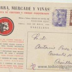 Sellos: TARJETA CON MEMBRETE DE BARCELONA A CREVILLENTE DEL 9 JUN.1945.CON EDIFIL 922 Y SELLO. Lote 44797160