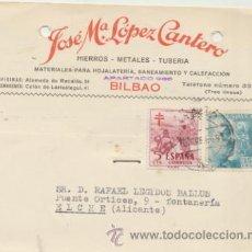 Sellos: TARJETA CON MEMBRETE DE BILBAO A ELCHE DEL 10 MAR.1954. CON EDIFIL 1050 Y 1103.. Lote 44797284