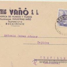 Sellos: TARJETA CON MEMBRETE DE BOCAIRENTE A CREVILLENTE DEL 9 OCT. 1945. CON EDIFIL 922.. Lote 44797310