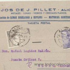 Sellos: TARJETA CON MEMBRETE DE ALICANTE A ELCHE DEL 6 SEP. 1946. CON EDIFIL 916 Y 922.. Lote 44797405
