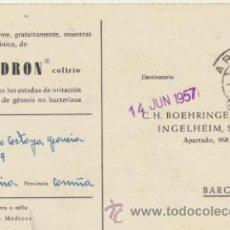 Sellos: TARJETA CON MEMBRETE DE ARZÚA A BARCELONA DEL 14 JUN. 1957.CON EDIFIL 1073.. Lote 44797585