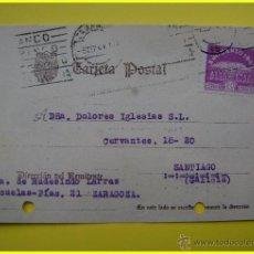 Sellos: TARJETA POSTAL COMERCIAL CIRCULADA 1944, VIUDA DE RUDESINDO LARRAZ, ZARAGOZA. SELLO AÑO SANTO 1943. Lote 44963360