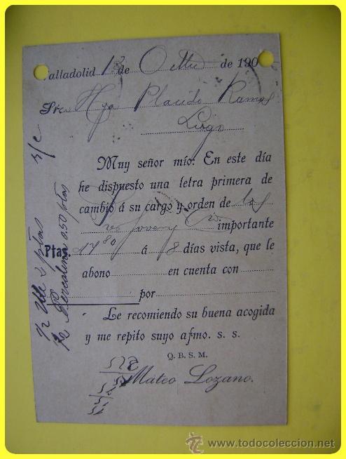 Sellos: Tarjeta postal comercial 1906, Quincalla y Paquetería Mateo Lozano, Valladolid-Lugo. Sello cadete 10 - Foto 2 - 45131158