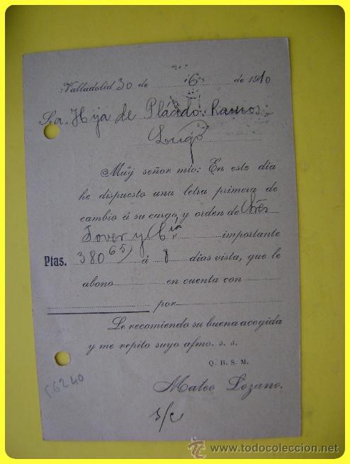 Sellos: Tarjeta postal comercial 1910, Quincalla y Paquetería Mateo Lozano Valladolid-Lugo. Sello medallón10 - Foto 2 - 45131217