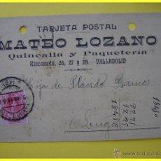 Sellos: TARJETA POSTAL COMERCIAL 1910, QUINCALLA Y PAQUETERÍA MATEO LOZANO VALLADOLID-LUGO SELLO MEDALLÓN 10. Lote 45131256