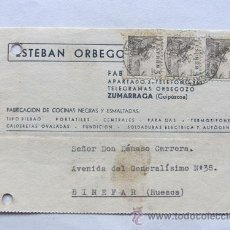 Sellos: TARJETA COMERCIAL / ESTEBAN ORBEGOZO / ZUMARRAGA 1942. Lote 45715456