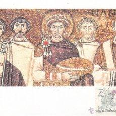 Sellos: RELIGION MOSAICO BIZANTINO EMPERADOR JUSTINIANO IGLESIA SAN VITAL EN RARA TARJETA ARTESANAL. MPM.. Lote 46239200
