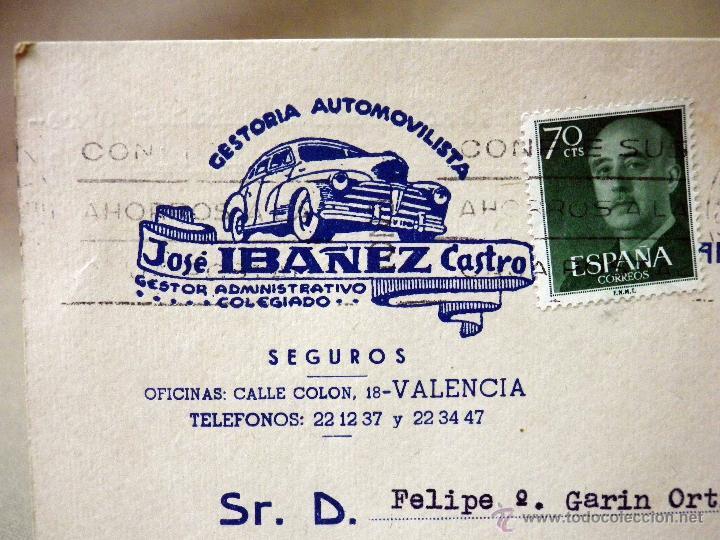 TARJETA POSTAL, COMERCIAL, GESTORIA AUTOMOVILISTICA IBAÑEZ, VALENCIA (Sellos - España - Tarjetas)