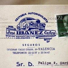 Sellos: TARJETA POSTAL, COMERCIAL, GESTORIA AUTOMOVILISTICA IBAÑEZ, VALENCIA. Lote 46721896